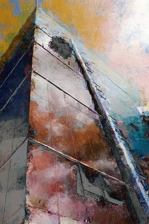towerblock: Painting of a modern towerblock in colorful grunge style Stock Photo