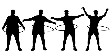 losing weight: sequence of a man losing weight through hoop exercise