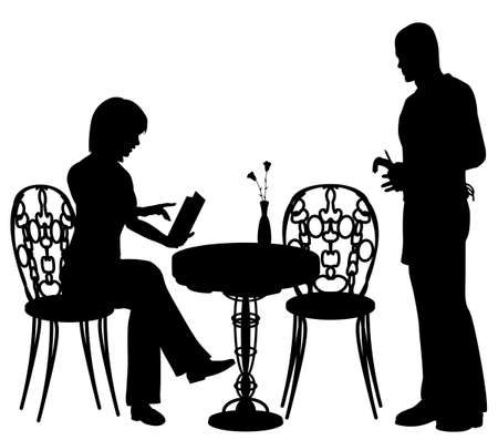 outdoor dining: Editable vector silhouette of a woman ordering food and drink from a waiter at a cafe or restaurant with all objects as separate elements