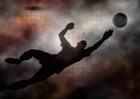diving save: Dramatic illustration of a soccer goalkeeper diving to save a shot