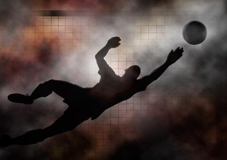 portero: Ilustración dramática de un portero de fútbol de buceo para salvar un tiro Foto de archivo