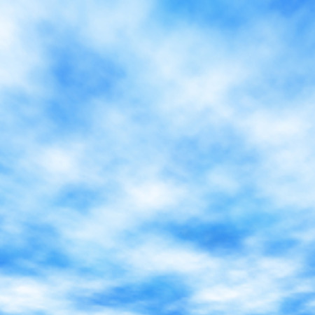 Editable vector illustration of high white clouds in a blue sky made using a gradient mesh