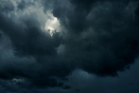 rainclouds: Editable vector illustration of dark heavy rainclouds made with a gradient mesh
