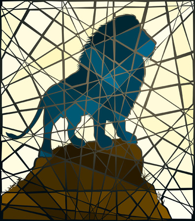 Editable vector mosaic illustration of a male lion standing on a rocky outcrop  Illustration