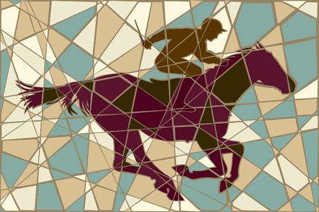 jockeys: Editable vector colorful mosaic illustration of a jockey riding a racing horse