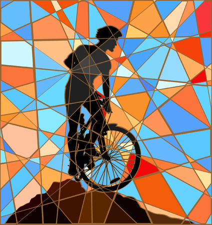 ridge: Editable vector colorful mosaic illustration of a mountain biker silhouette high on a ridge