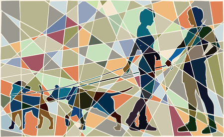 sociable: Editable vector colorful mosaic illustration of a man and woman and their pet dogs interacting Illustration