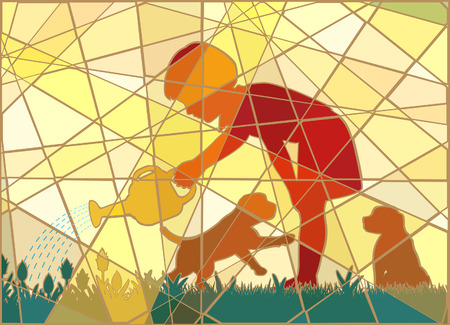 tending: Editable vector colorful mosaic illustration of a young girl watering her garden with two puppies in summer