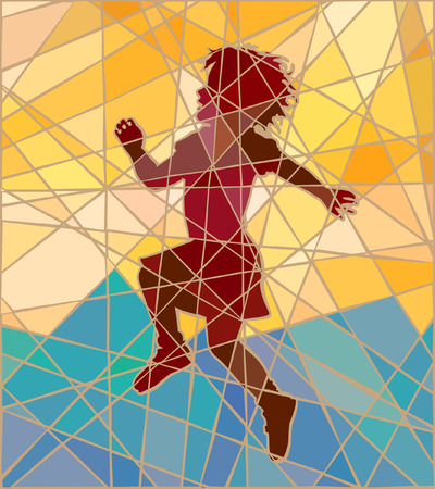 Editable vector colorful mosaic illustration of a young girl skipping