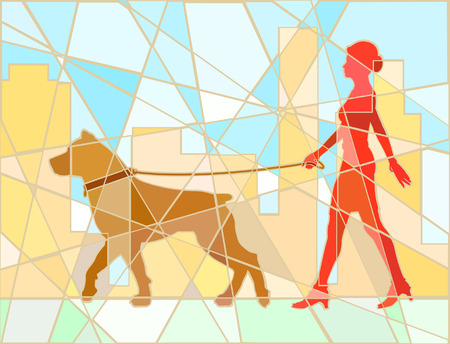 dog walking: Editable vector mosaic illustration of a woman walking her dog