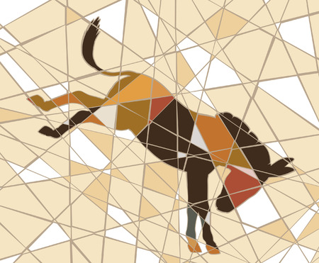mule: Editable vector mosaic illustration of a kicking donkey