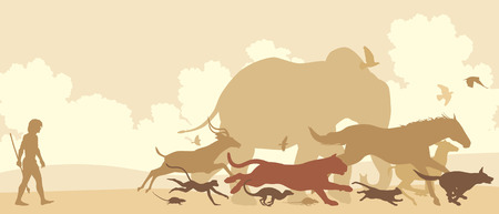 neanderthal man: Editable vector silhouettes of diverse animals running away from an early man Illustration