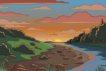 Editable vector illustration of a river valley landscape at sunset Vector