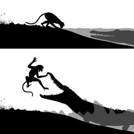 hidden danger: Editable vector silhouettes of a crocodile hunting a thirsty monkey