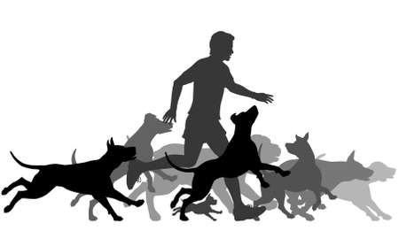 dog running: Editable vector silhouettes of a man and pack of dogs running together with all elements as separate objects Illustration