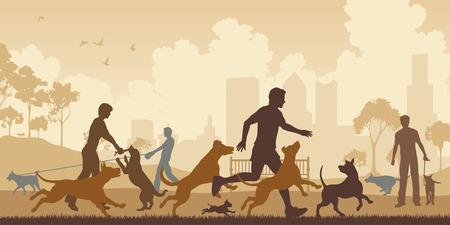 schattenbilder tiere: Editierbare Vektor-Illustration von Hunden und ihren Besitzern in einem Park mit allen Elementen als separate Objekte