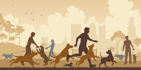 perro corriendo: Ilustraci�n vectorial editable de los perros y sus due�os en un parque con todos los elementos como objetos separados