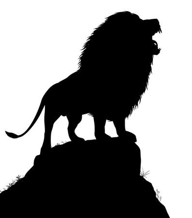 roar: Editable vector silhouette of a roaring male lion standing on a rocky outcrop with lion as a separate object Illustration