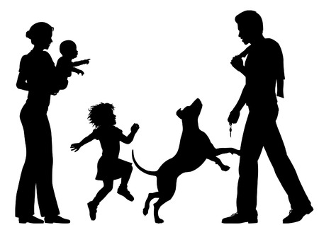 welcomed: Editable vector silhouettes of a man welcomed home by wife, children and dog with all figures as separate objects