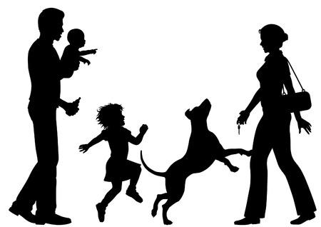 perro familia: Siluetas editable de una mujer de bienvenida a casa por el marido