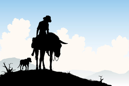 Editable silhouette of a weary traveler riding his donkey with dog following Vector