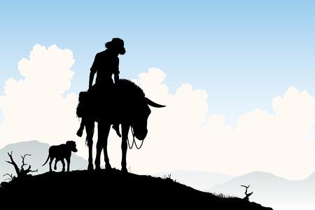 burro: Editable silueta de un viajero cansado montado en su burro con el perro siguiente