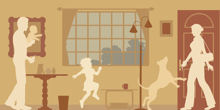 welcomed: Editable silhouettes of a woman welcomed home  Illustration
