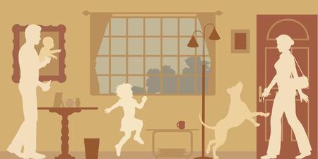perro familia: Siluetas editables de una casa Mujer dio la bienvenida