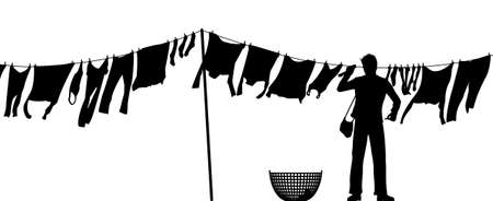 reversal: Editable silhouette of a man hanging clothes on a washing line Illustration
