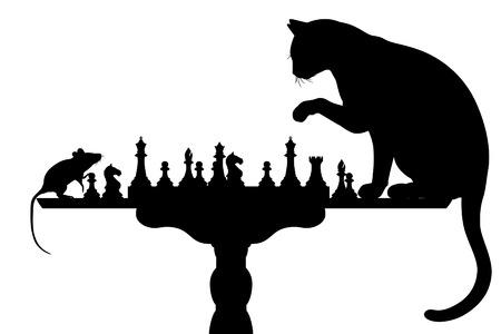 Bewerkbare silhouetten van een kat en muis spelen schaak met alle elementen als afzonderlijke objecten