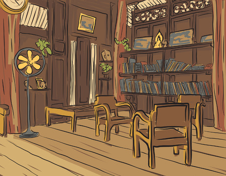 olden: color sketch of an olden reading room or living room with wooden furniture