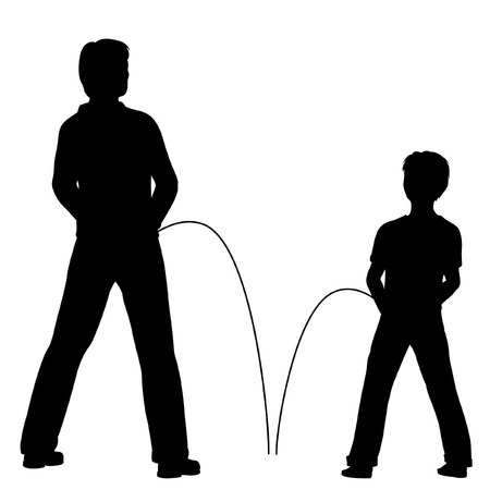 silhouettes of a man and boy urinating together
