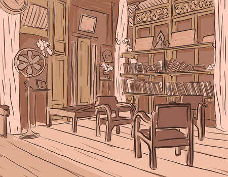 olden: brown sketch of an olden reading room or living room with wooden furniture Illustration