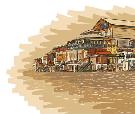 lakeside: Editable vector illustration sketch of wooden waterside buildings