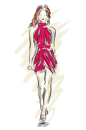 catwalk model: Vettoriale modificabile schizzo di una modella cammina per una passerella