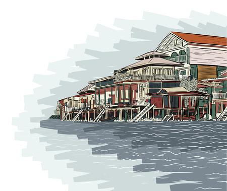 waterway: Editable vector illustration sketch of wooden waterside buildings