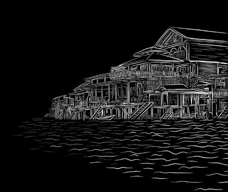 waterside: Editable vector illustration sketch of waterside wooden buildings