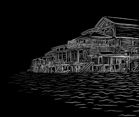 lakeside: Editable vector illustration sketch of waterside wooden buildings