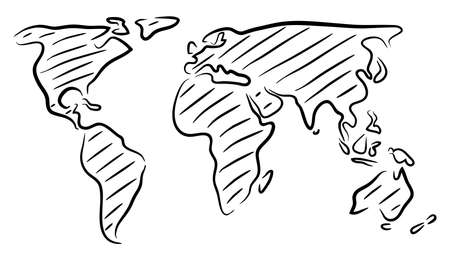 Editable vector rough outline sketch of a world map Illustration