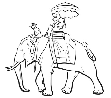 tame: sketch of tourists riding on an Asian elephant with mahout