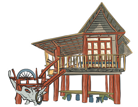 lodge: sketch of a rustic wooden building Illustration