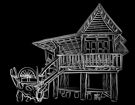 homestead: sketch of a rustic wooden building Illustration