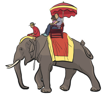 pachyderm: illustration of tourists riding on an Asian elephant with mahout