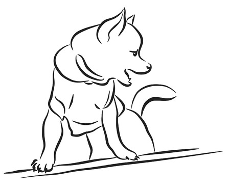 loveable: Editable vector lineart sketch of a toy dog wearing a shirt Illustration