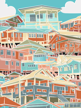 closely: Editable vector illustration of closely packed houses on a hillside