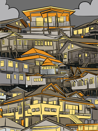 closely: Editable vector illustration of closely packed houses on a hillside at night