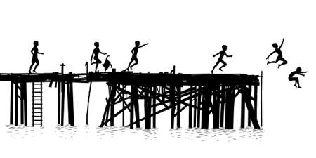 after school: Editable vector silhouette of children jumping off a wooden jetty