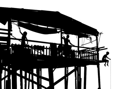 stilted: Editable vector silhouette of a family in their shack on stilts with people as separate objects