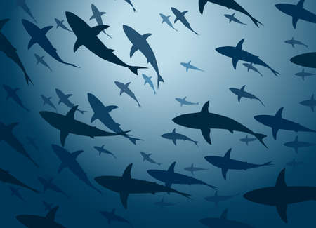 cruising: Editable vector illustration of a large school of cruising sharks from below Illustration