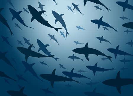 school of fish: Editable vector illustration of a large school of cruising sharks from below Illustration